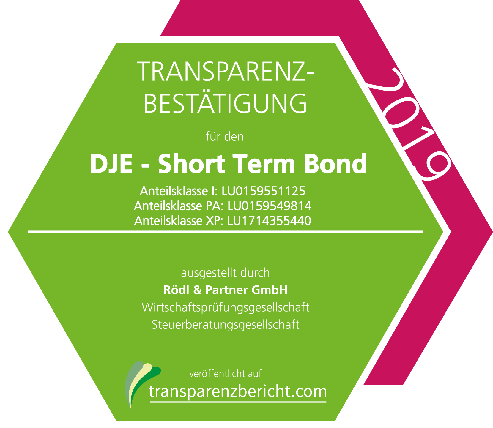 DJE - InterCash Transparenzbestätigung 2019